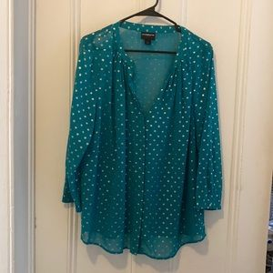 Sheer gold green dotted blouse